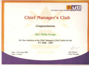 Philip George - LIC Agent - Chief Managers Club -UTI 2008
